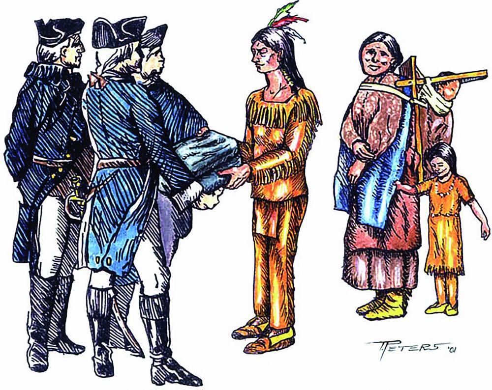 제프리 암허스트 장군이 원주민에게 천연두에 오염된 담요를 선물하는 모습