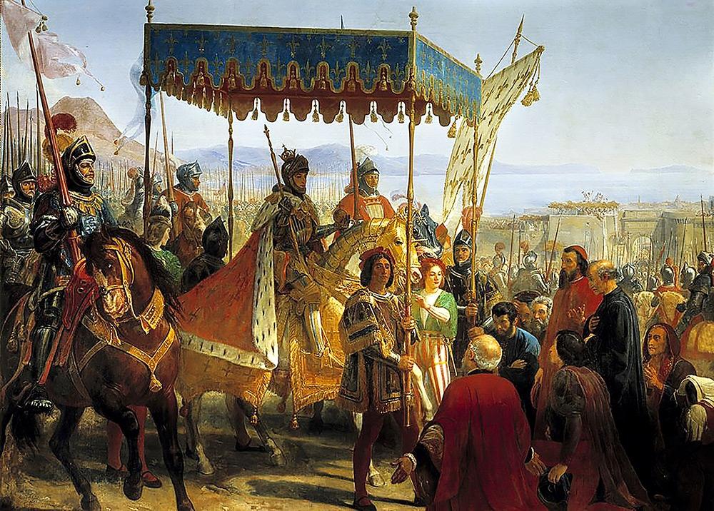 프랑스 황제 샤를 8세의 군대가 이탈리아 나폴리를 함락시킨 모습